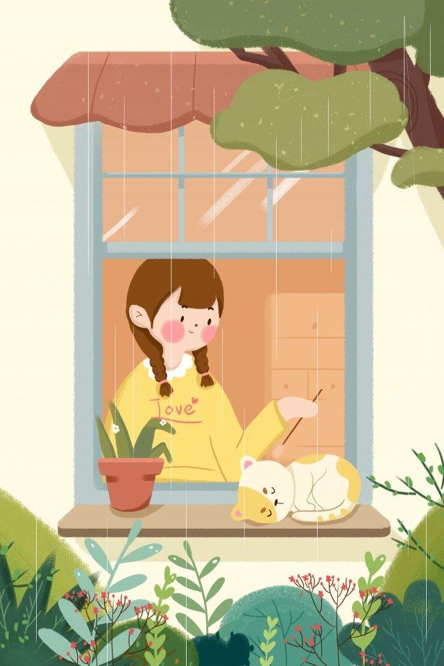 spring rain girl cat window illustration image