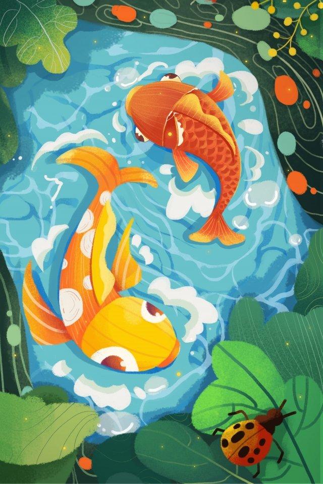 春の再生活気のある魚 イラスト素材