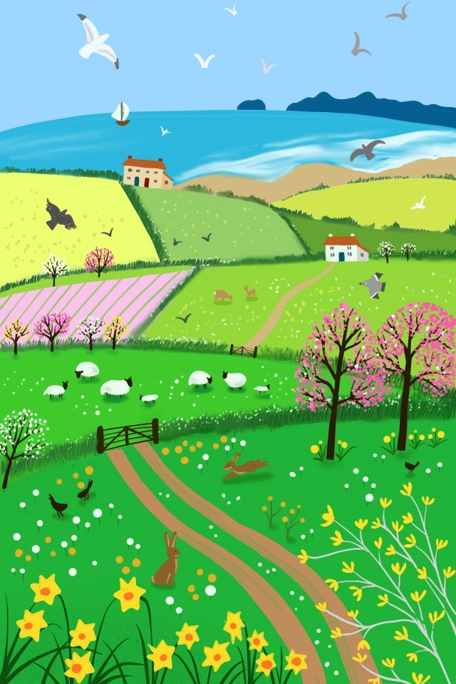 spring rural beach landscape, Animal, Spring, Rural illustration image