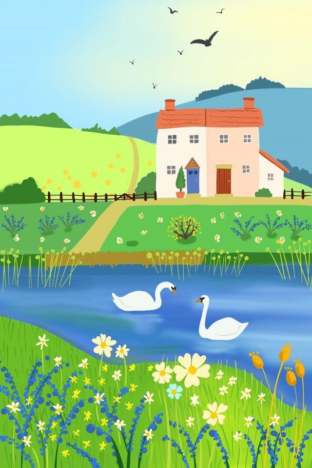 春天農村湖景觀 插畫素材 插畫圖片