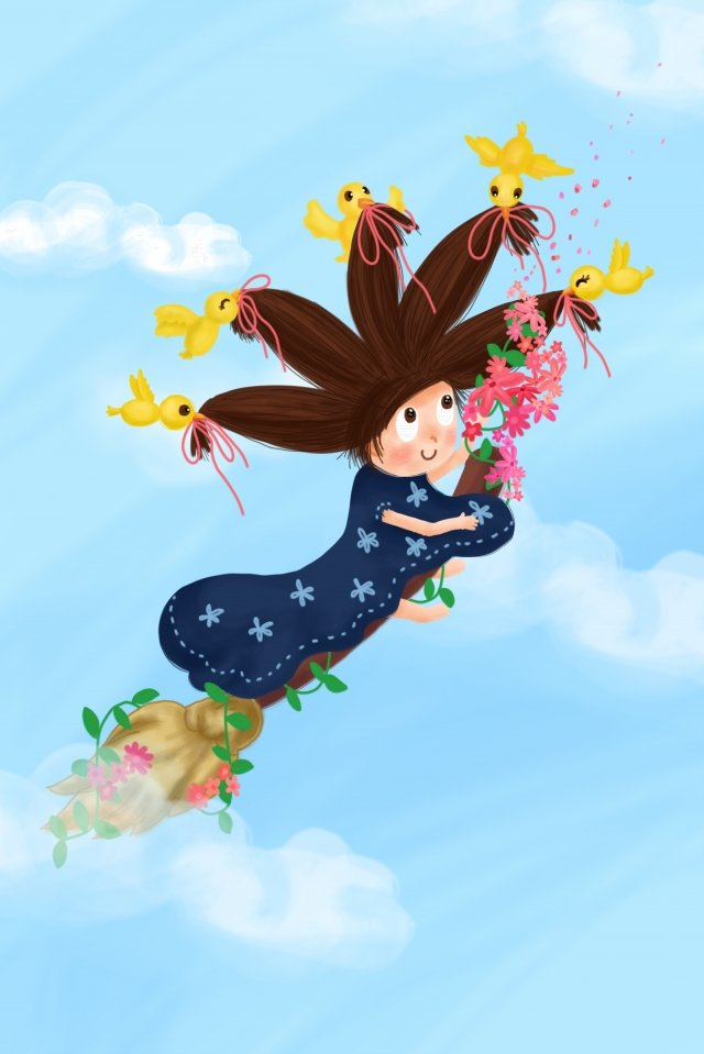 spring sky ride broomGirl،  Blue  Skirt، PNG و PSD illustration image