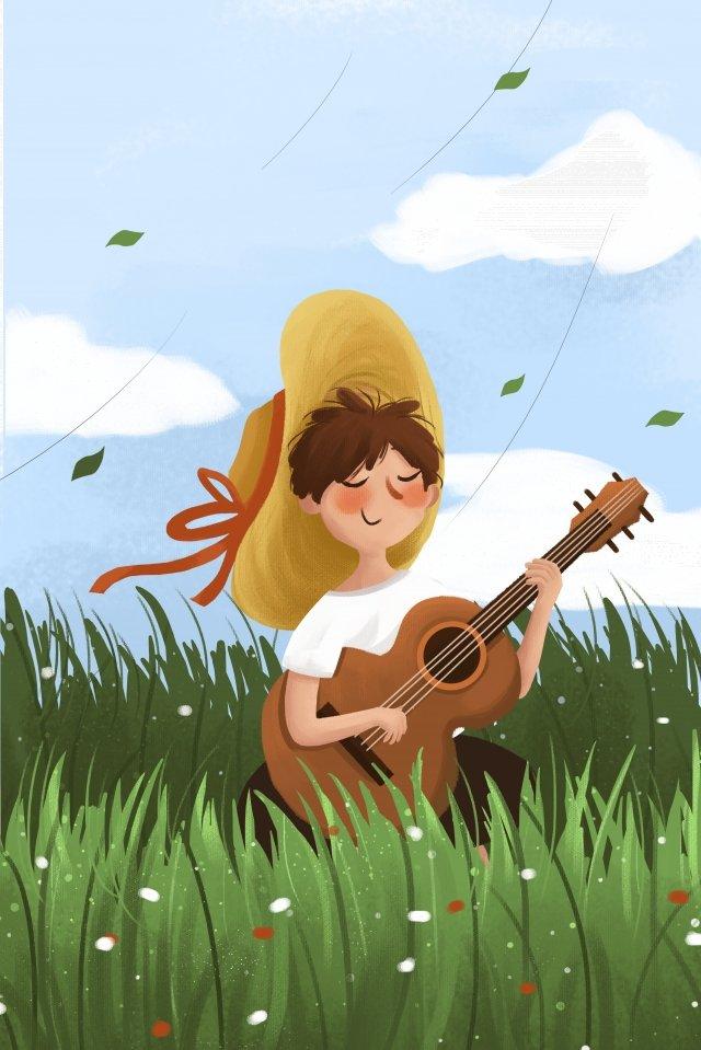 春の春の少年、草の中 イラスト素材 イラスト画像