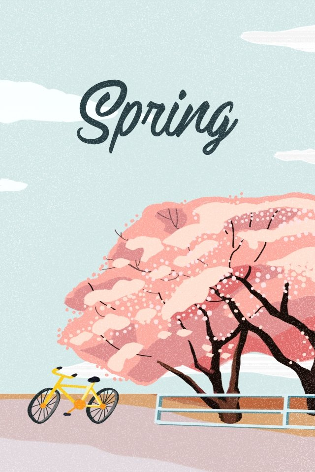 spring spring cherry blossoms flower, Plant, Hand Painted, Illustration illustration image