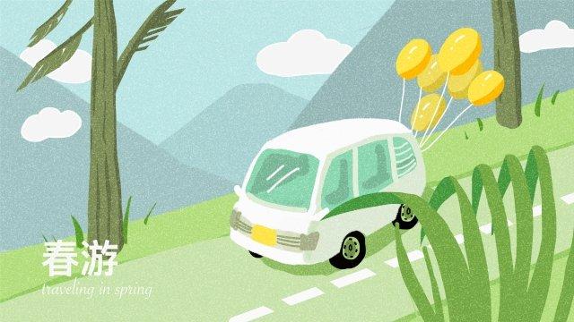 봄의 봄 나들이 여행 그림 이미지