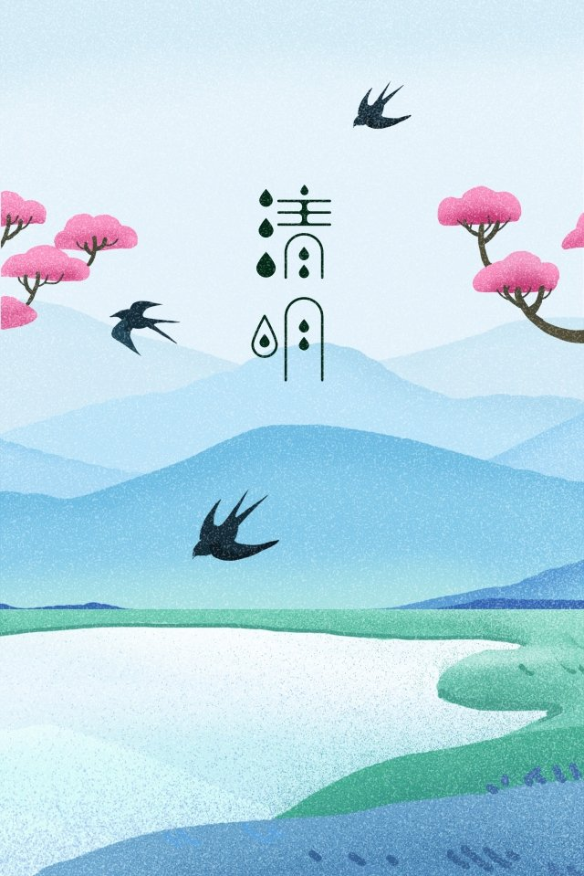 spring spring qingming landscape, Swallow, Step On, Illustration illustration image