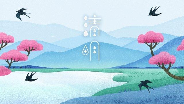spring spring qingming landscape, Illustration, Swallow, Step On illustration image