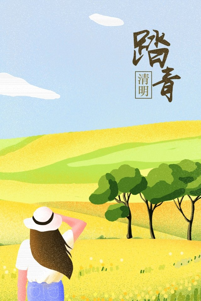 spring spring qingming step on, Rape Flower, Landscape, Outing illustration image