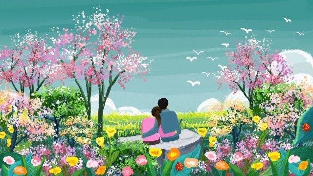 春春春そよ風春の花 イラスト素材