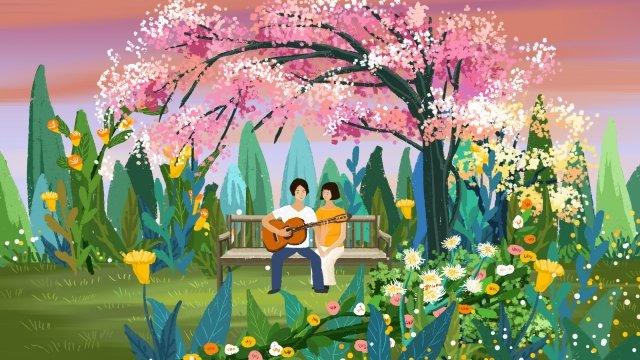 spring spring spring breeze spring blossoms, Landscape, Landscape Illustration, Landscape Hand Drawing illustration image