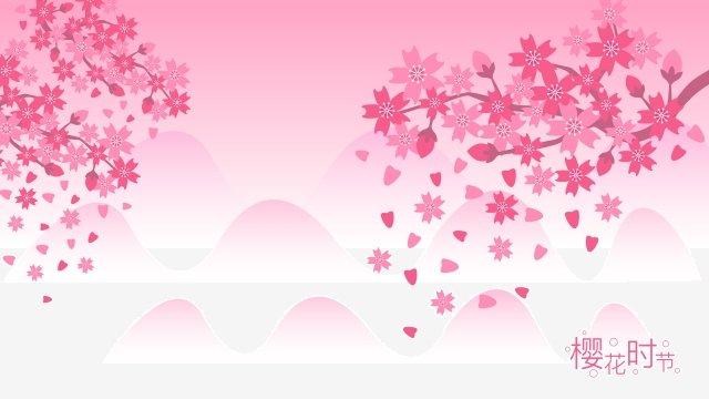 spring spring spring cherry blossoms, Cherry Blossom Season, Pink, Purple illustration image