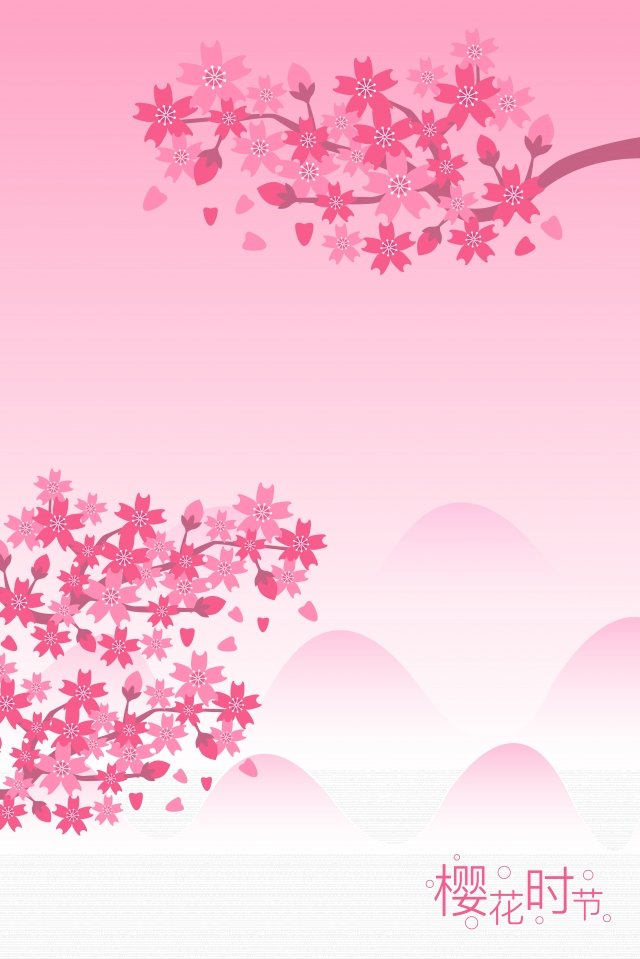 spring spring spring cherry blossoms, Cherry Blossom Season, Pink, Purple illustration image