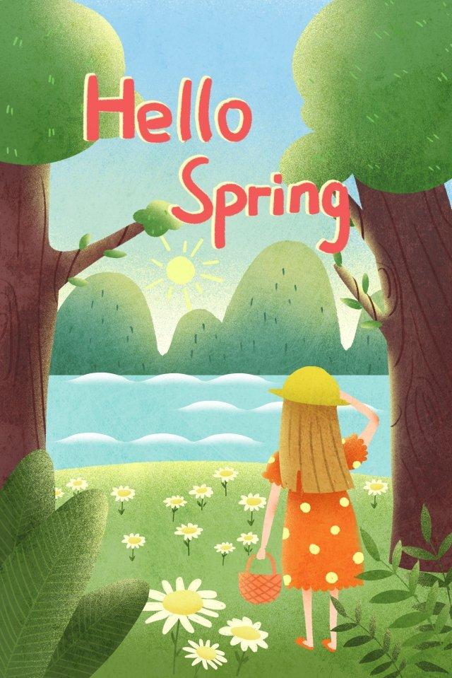 외출 손으로 그린 스타일에 봄 단계 그림 이미지 일러스트레이션 이미지