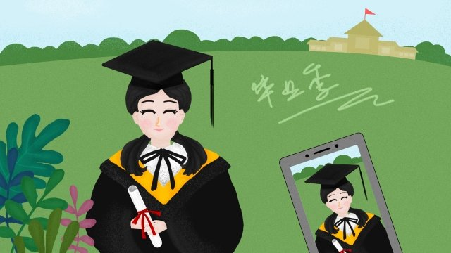 spring summer graduation season bachelor gown, Girl, Take A Photo, Hand Painted illustration image