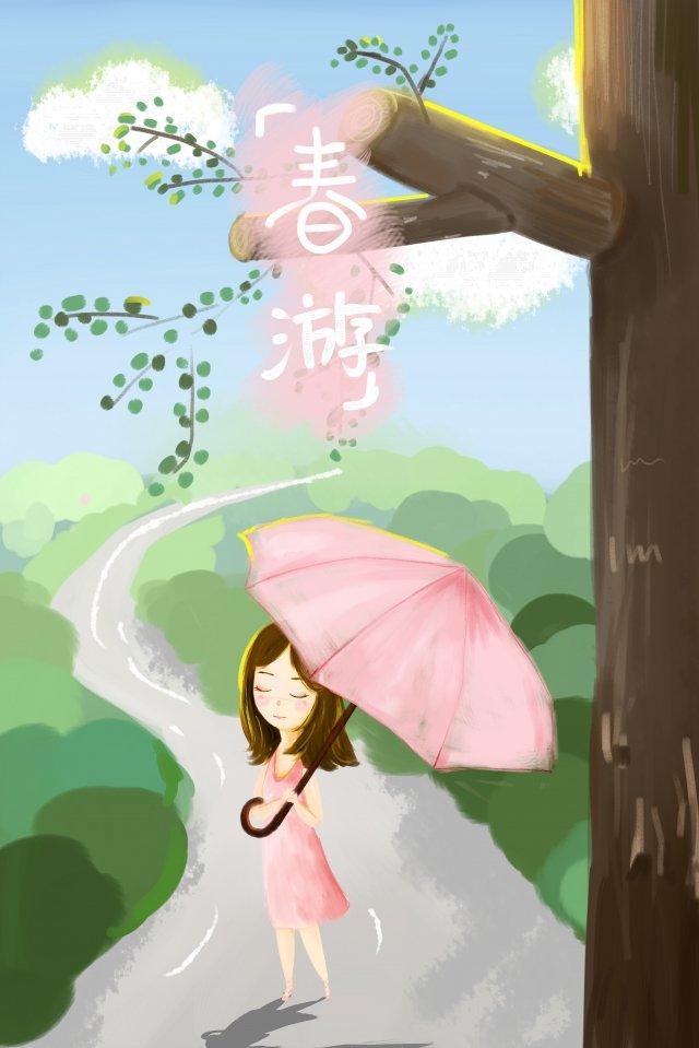 스프링 작은 소녀에 봄 투어 단계 그림 이미지 일러스트레이션 이미지