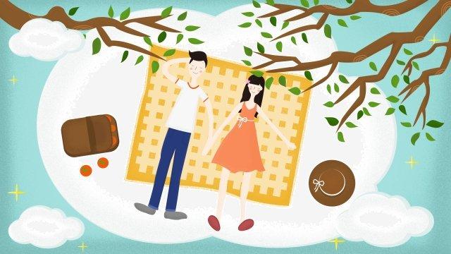春のツアー観光分野の自然春、白い雲、カップル、支店、帽子、ピクニック、幸せ、清明祭、春のツアー、観光、分野、自然 PNGおよびPSD illustration image