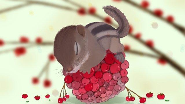 松鼠果實上床樹陰影 插畫素材 插畫圖片