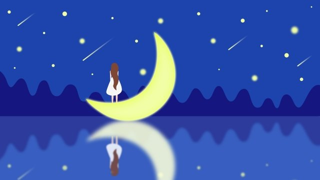 star sea illustration moon girl standing on the moon, Meteor, Starry Sky, Sea illustration image
