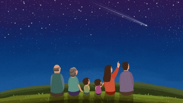 star starry sky meteor night, Grassland, Grass, Family illustration image