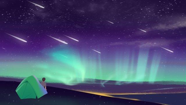 星空极光蓝紫色插画 星空 极光 野营星空  星空极光蓝紫色插画  野营PNG和PSD illustration image