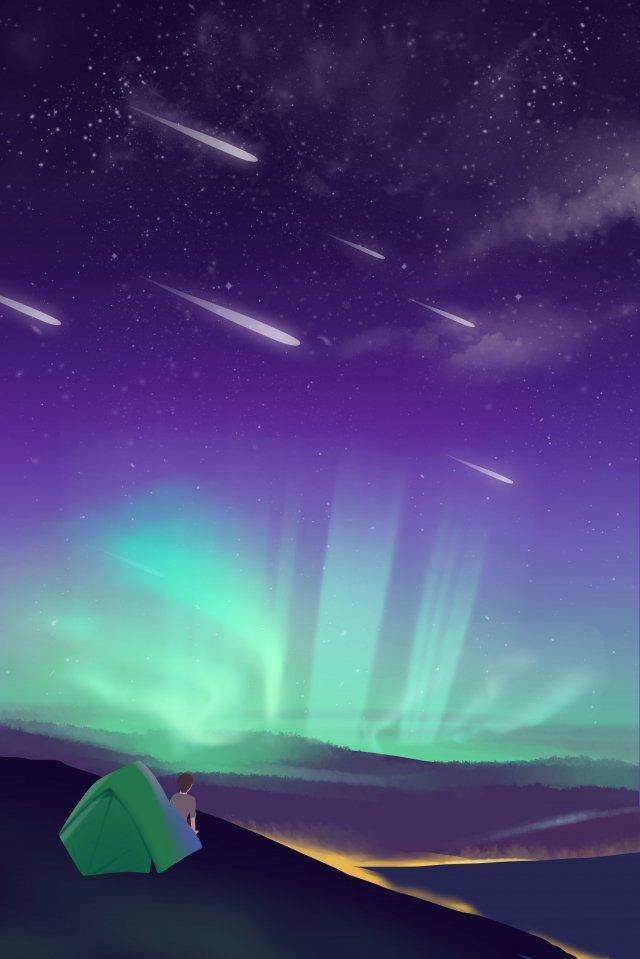 별이 빛나는 하늘 오로라 캠핑 파란색 보라색 그림 이미지
