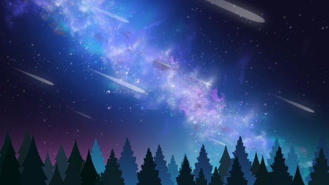 星空の背景青い森 イラスト素材
