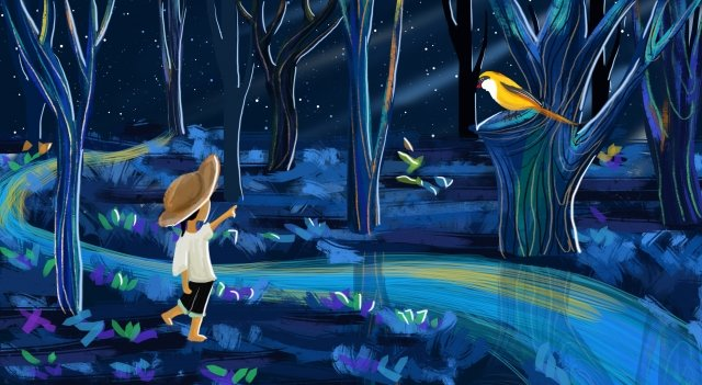 starry sky boy forest night, Night View, Flower, Grass illustration image