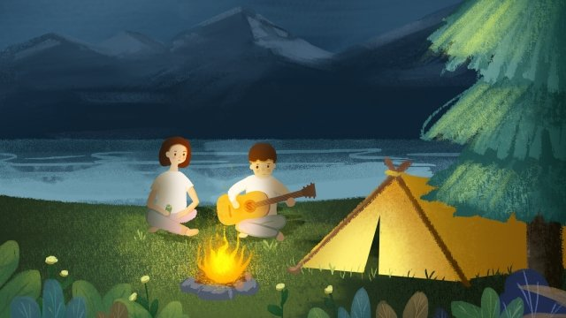 starry sky camping couple tent, Character, Sky, Style illustration image