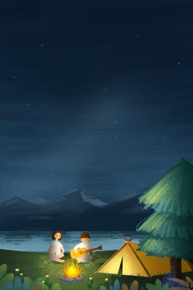 별이 빛나는 하늘 캠핑 텐트 삽화 소재