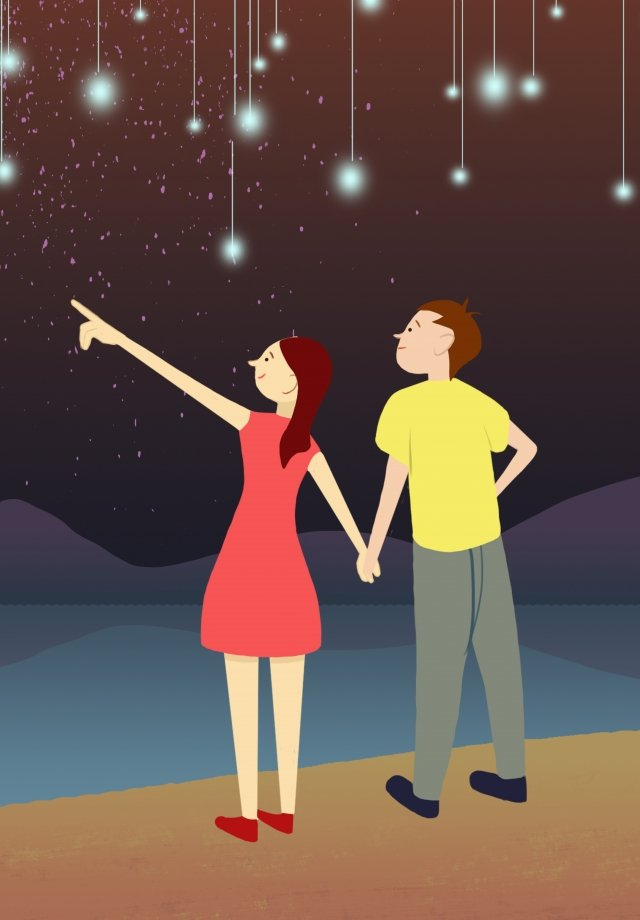starry sky couple hand drawn illustration night, Star, Far Mountain, River illustration image