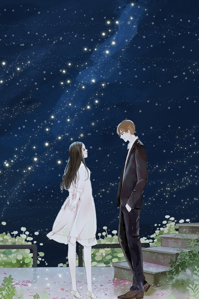 starry sky couple hand painted fresh, Starry Sky, Couple, Hand Painted illustration image