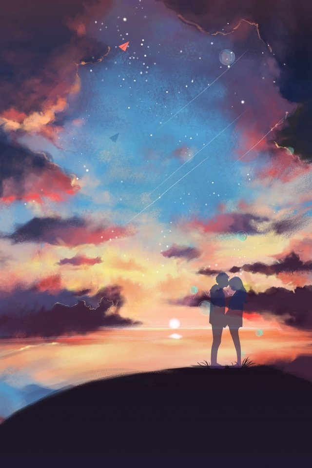 starry sky couple love night view llustration image