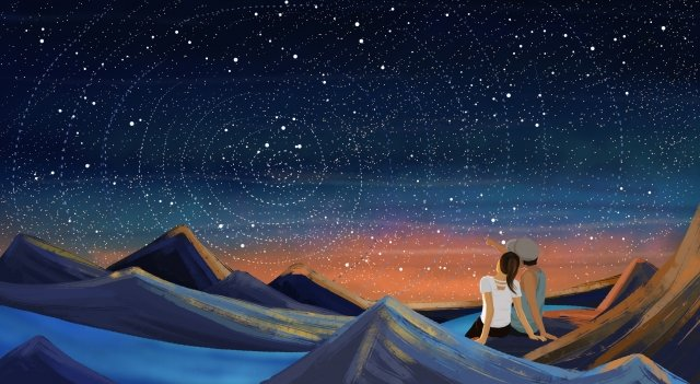 starry sky couple mirage romantic, Dream, Mountain, River illustration image