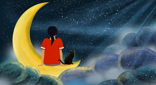 starry sky dream fairy tale cat, Girl, Moon, Moonlight illustration image
