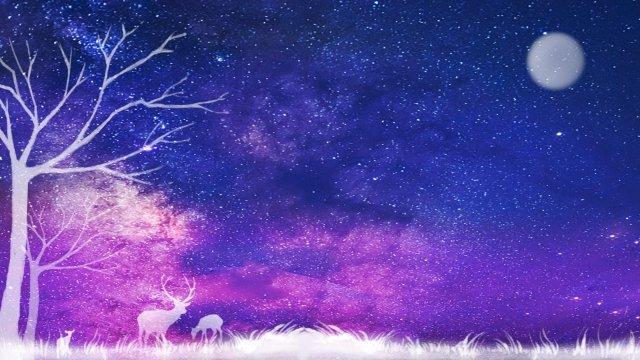 滿天星斗的天空麋鹿森林草 插畫素材