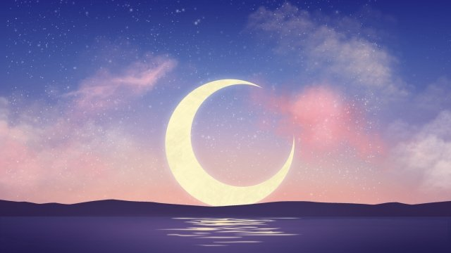 starry sky moon dusk powder blue, Illustrator, Starry Sky, Moon illustration image