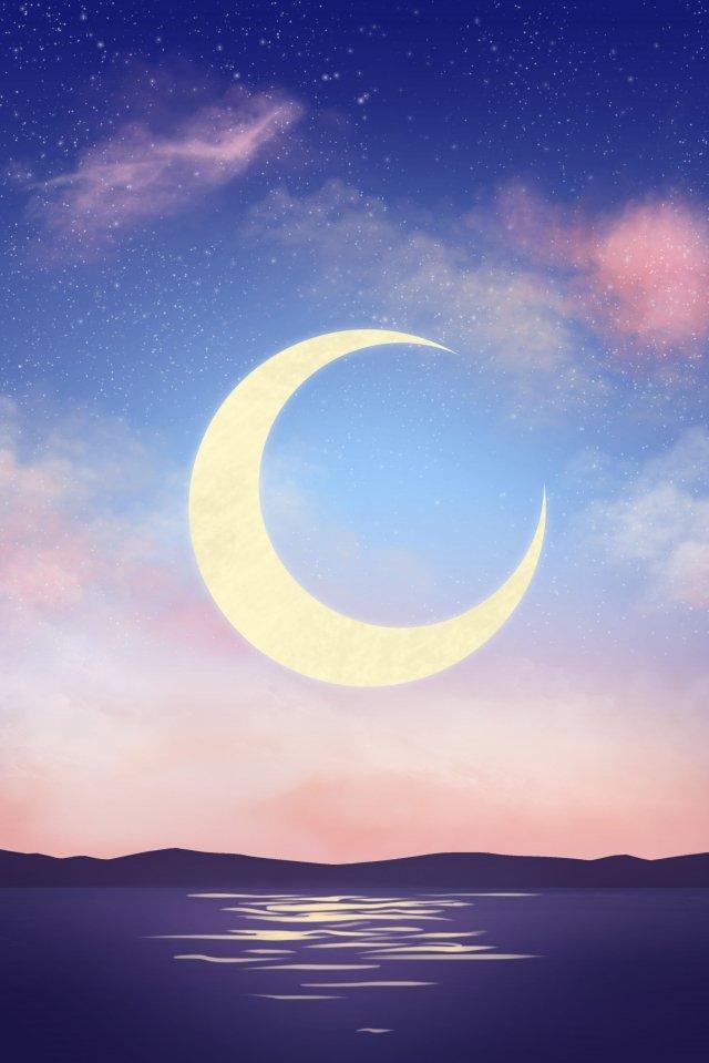 星空月光夜青イラストレーター 星空 月 パウダーブルー 夕暮れ星空  月  パウダーブルー PNGおよびPSD illustration image