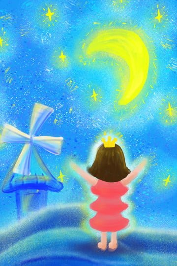 starry sky moon star red skirt, Girl, Tower, Windmill illustration image