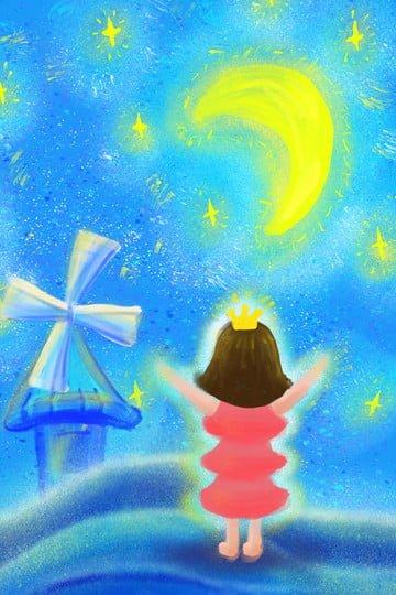 별이 빛나는 하늘 문 스타 빨간색 치마 그림 이미지