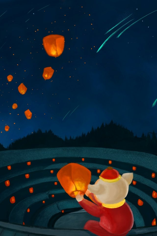 starry sky new years year of the pig beautiful, Illustration, Hand Painted, Earth Building illustration image
