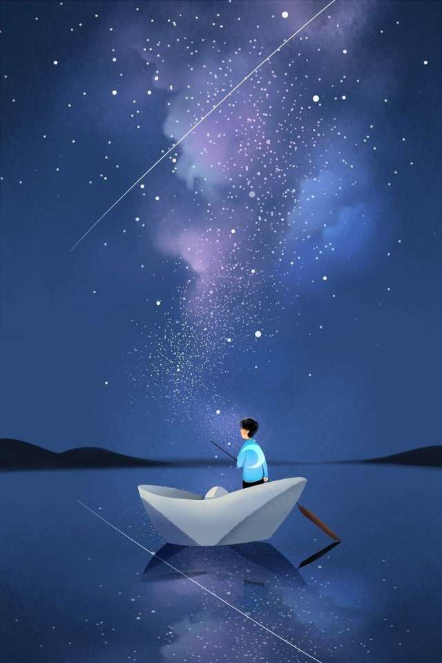starry sky night night view sky, Star, Galaxy, Boat illustration image
