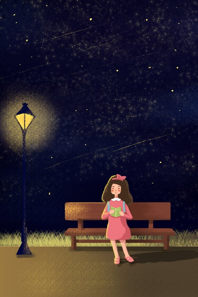 starry sky reading street light girl, Character, Sky, Street illustration image