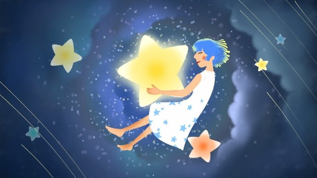 滿天星斗的天空明星深夜 插畫素材