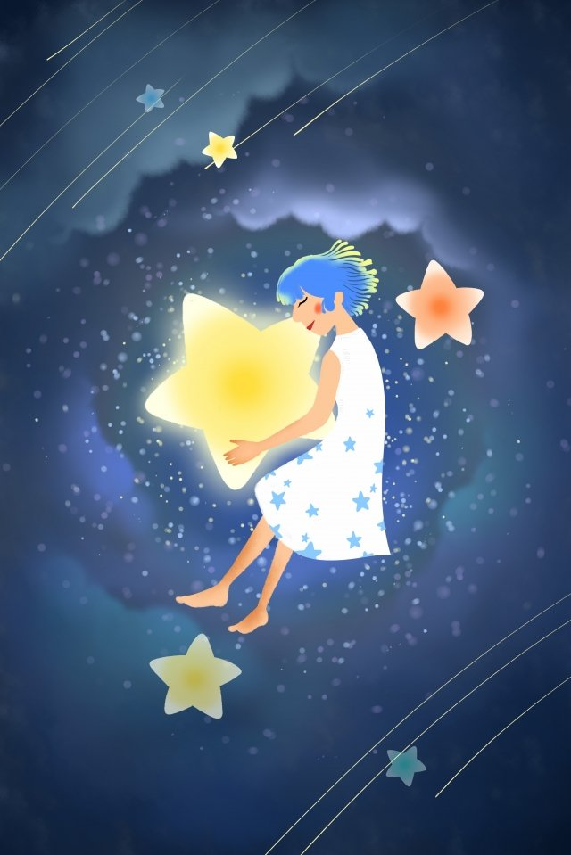 滿天星斗的天空明星深夜 插畫素材 插畫圖片
