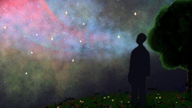 별이 빛나는 하늘 나무 사람들 스타 삽화 소재