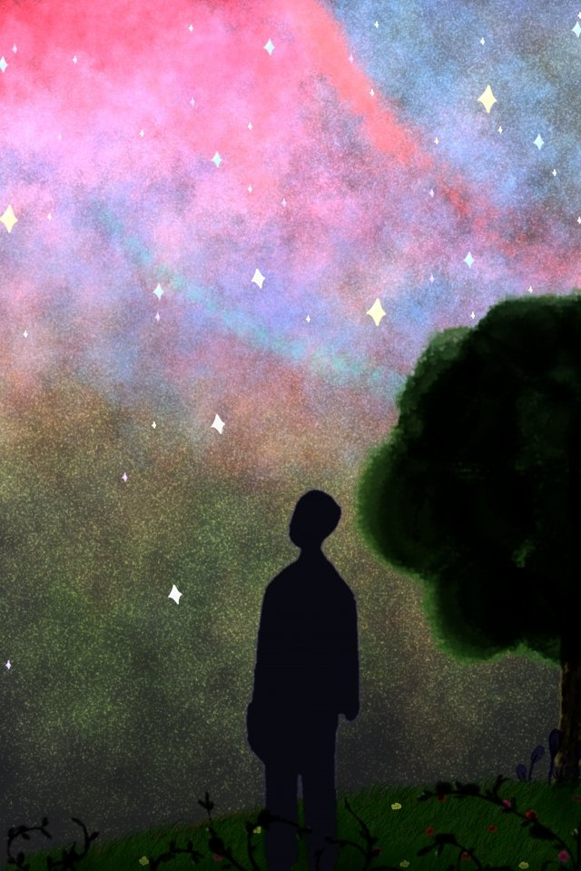 starry sky tree people star llustration image