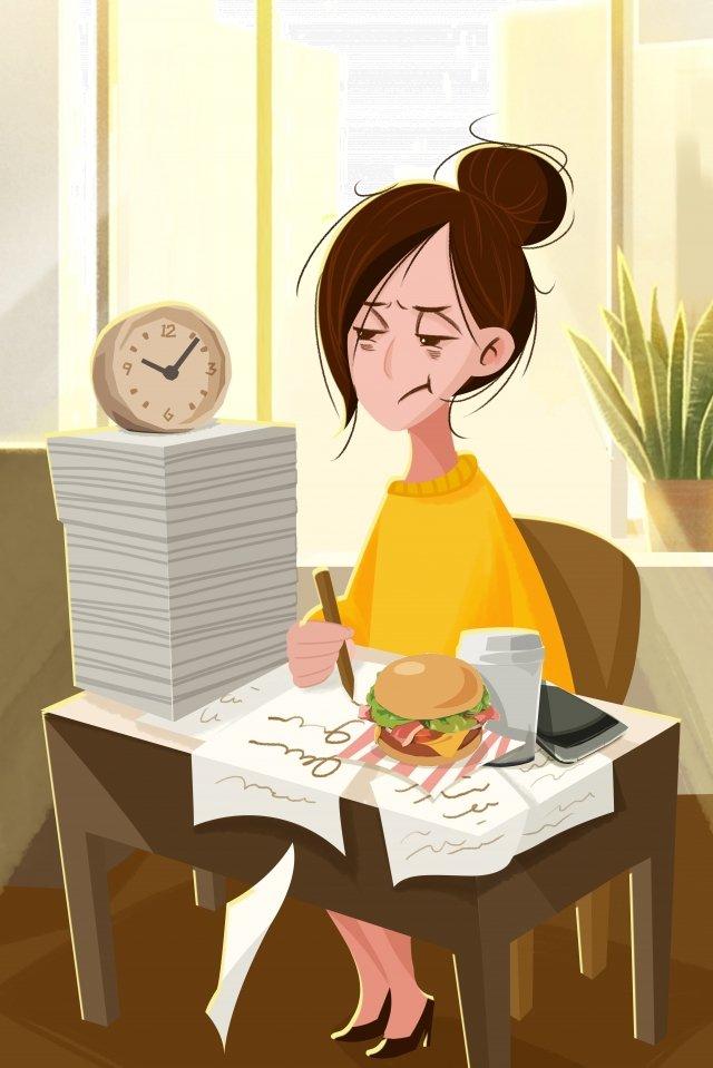 começar depois do feriado ir trabalhar exausta pintados à mão Material de ilustração Imagens de ilustração
