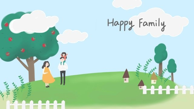 踩對夫婦兒童草原 插畫素材 插畫圖片