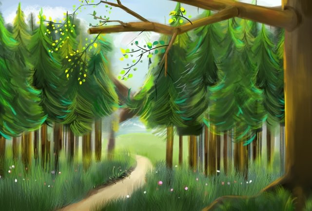 step on forest green background green leaves, Spring, Layering, Spring Element illustration image