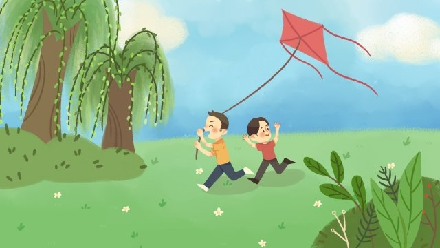 step on kite hand painted spring, Good Weather, Hand Drawn Style, Step On illustration image
