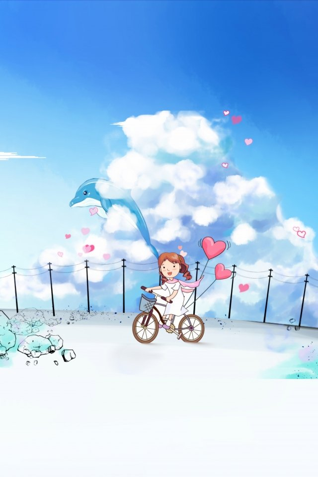 step on the bike little girl blue sky and white clouds hand painted, Literary, Candy Colors, Happy illustration image